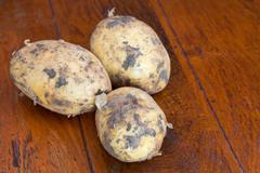 three raw potatoes - stock photo