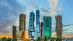 The Moscow sky-scrapers by sunset background and clouds. Time lapse Stock Footage