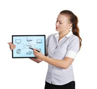 tablet with computer network - stock photo