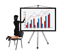woman drawing chart - stock photo