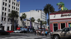 Crowded Hollywood Highland Avenue Ripley's Believe It Or Not Museums Wax Traffic Stock Footage