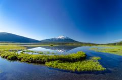 Mount Bachelor and Sparks Lake - stock photo