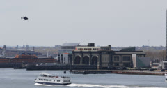 Ultra HD 4K Port Authority Manhattan Heliport, Ferry Passing, Helicopter Landing Stock Footage
