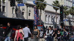 Hollywood Boulevard, Sign, Walk of Fame, Crowds People Walking, Cars Passing, LA - stock footage