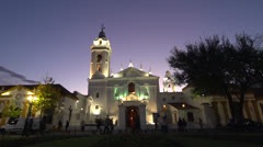 Beautiful church in the evening Stock Footage