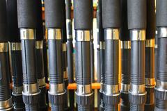 many fishing rod - stock photo
