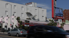 Highland Avenue, Mel's Drive In Diner, People Walking, Cars Passing LA Hollywood - stock footage