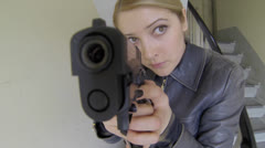 Stock Video Footage of women officer agent shooting gun weapon