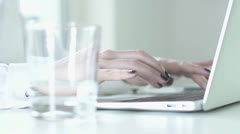 Laptop computer keyboard tipping. busyness women working on laptop in office. Stock Footage