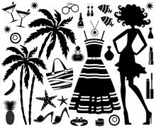 Fashionable set of tropical rest with silhouette of woman Stock Illustration