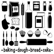 Set of products for baking Stock Illustration