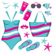 fashionable set with a swimming suit - stock illustration