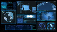 Technology Interface Computer Data Screen GUI + matte HD Stock Footage