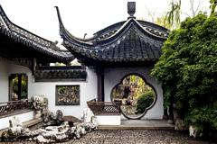 The round gate in chinese  garden, yangzhou of china Stock Photos