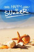 starfish on the beach - stock illustration