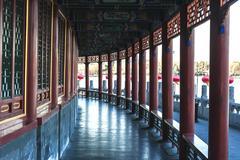 the long corridor in beihai park, beijing - stock photo