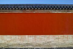 red wall in temple of heaven, beijing - stock photo