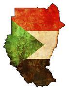 sudan flag on territory - stock illustration