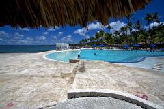 Dominicana pool tree palm  peace marble Stock Photos