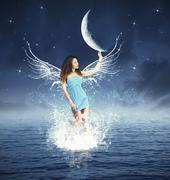 creative fashion with fairy touching the moon - stock illustration