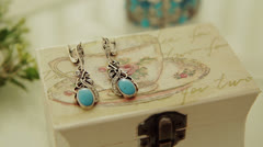 Vintage Turquoise Earrings - stock footage