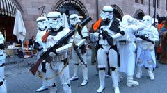 Nuremberg Old Town Konig Street Blue Night festival Star Wars characters Stock Footage