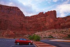Arches national park parking, arches national park, utah, usa Stock Photos