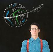 nerd geek businessman chalk globe jet world travel - stock photo