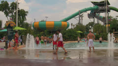 Popular Water Slide Attraction at Waterpark Stock Footage