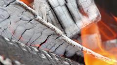Burning wood - stock footage