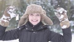 happy women enjoying winter time snow slow motion - stock footage