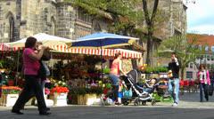 Nuremberg Old Town Konig Street flower vendor stall Stock Footage