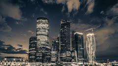 Moscow sky-scrapers sepia night timelapse, RAW VIDEO:6K,4K & 1080p resolutions Stock Footage