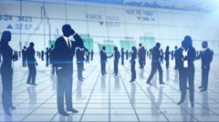 Animation with business people silhouettes Stock Footage