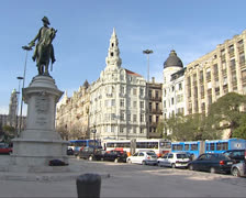 Liberdade Square (Liberty Square) in the historic centre of Porto Stock Footage