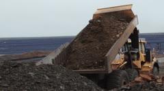 Dumptruck road construction site NTSC - stock footage