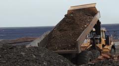 Dumptruck road construction site PAL - stock footage