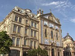 Tiled facade church Igreja dos Congregados in the historic centre of Porto Stock Footage