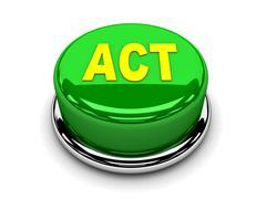 3d button green act start push Stock Illustration
