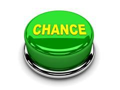3d button green chance start push - stock illustration