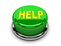 3d button green help support protection push - stock illustration