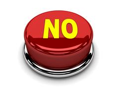 3d button red no stop disagreement push - stock illustration