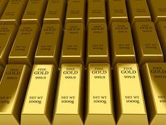 Many gold bars background. concept 3d illustration. Stock Illustration