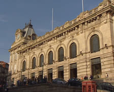 Sao Bento Railway station in the historic centre of Porto - exterior 02 Stock Footage
