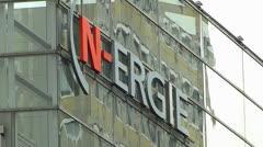 Nuremberg N-ergie electricity company logo Stock Footage