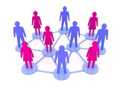 People connections. social network. concept 3d illustration Stock Illustration