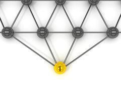 metaphor of communication. gold leader in front. concept 3d illustration. - stock illustration