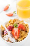 Healthy breakfast with strawberry Stock Photos