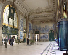 Azulejo panels in Sao Bento Railway station hall in the historic centre of Porto Stock Footage