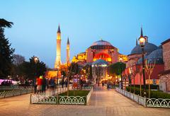 Hagia sophia in istanbul, turkey early in the evening Stock Photos